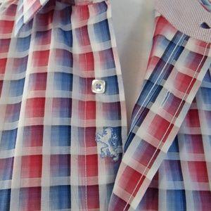 Bugatchi Blue Pink White Check Button Front Shirt
